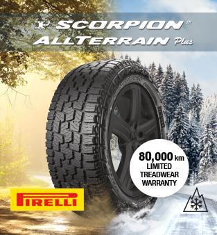 Scorpion All TERRAIN more. ROAD ON / OFF ALL TERRAIN.80,000 KM Limited warranty on treads. Pirelli