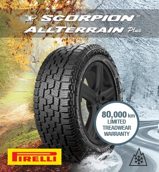 Scorpion All TERRAIN more. ROAD ON / OFF ALL TERRAIN.80,000 KM Limited warranty on treads. Pirelli