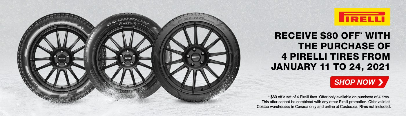 Buy 4 Pirelli Tires and get a $80 off . Valid from 1/11/ 2020 to 1/ 24/ 2021.