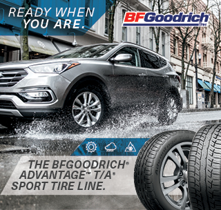 The BFGoodrich tire, Ready when you are for advantage T/A sport tire line.