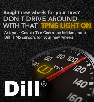 Bought new wheels for your tires? Don't drive around with that tpms light on. Ask your costco tire centre technician about dill tpms sensors for your new wheels. Dill