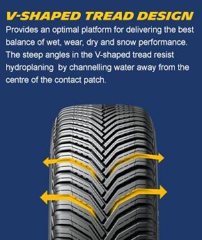 V-shaped tread design