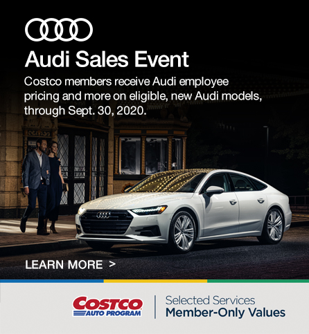 Costco Auto program. Audi Sales Event. selected services Member-only values.
