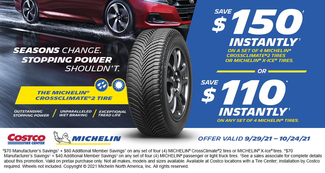 Save upto $150 instantly with set of 4 Michelin tires