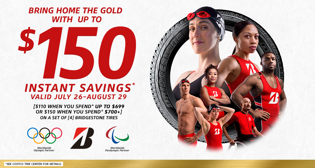 Save up to $150 Instantly* on sets of 4 Bridgestone tires with installation.
