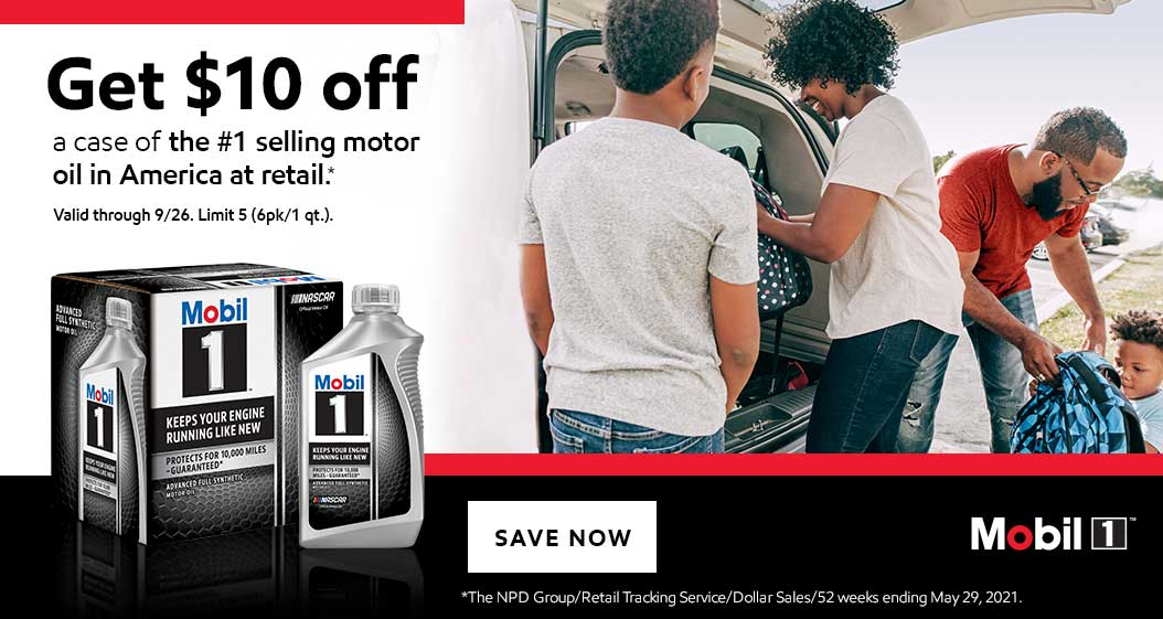 Mobil 1. Get $10 off a case of the #1 selling motor oil in America at retail.