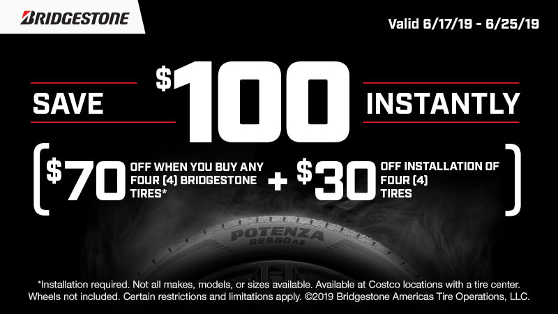 Save up to $130 on Michelin tires!  ($70 instant savings on any set of 4 Michelin tires PLUS additional $60 cash card by mail when you pay with your Costco Anywhere Visa Card by Citi). Cash card mailed 4-6 weeks after installation. Restrictions apply.